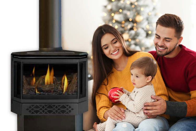 Family next to a gas fireplace